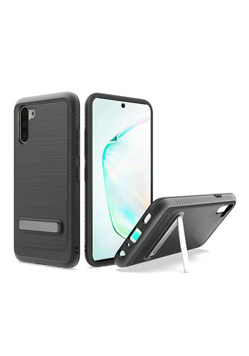 Metallic PC TPU Brushed Case Carbon Fiber Edge with Kickstand for Galaxy Note 10