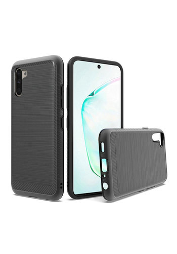 Metallic PC TPU Brushed Case with Carbon Fiber Edge for Galaxy Note 10 Plus