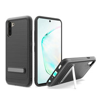 Metallic PC TPU Brushed Case Carbon Fiber Edge with Kickstand for Galaxy Note 10 Plus