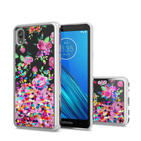 TPU Liquid Quicksand Glitter Purple Pink Flowers Design Case for Motorola Moto E6