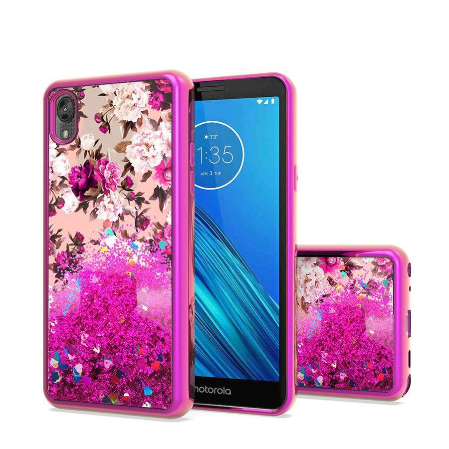 TPU Liquid Quicksand Glitter White Pink Flowers Design Case For Motorola Moto E6