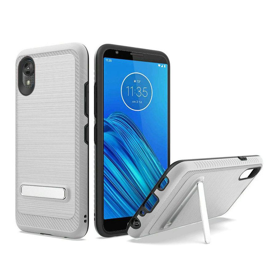 Metallic PC TPU Brushed Case Carbon Fiber Edge with Kickstand for Motorola Moto E6