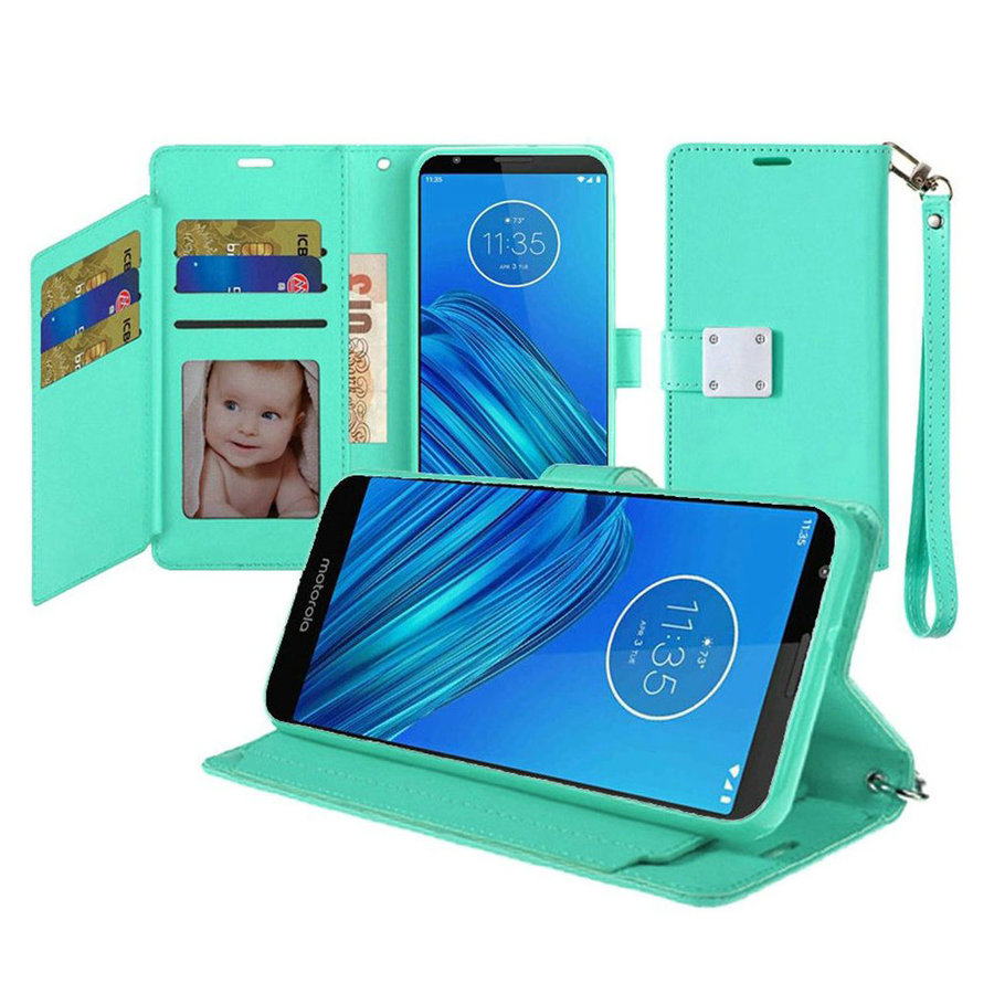 Hybrid PU Leather Metallic Flip Cover Wallet Case with Credit Card Slots for Motorola Moto E6