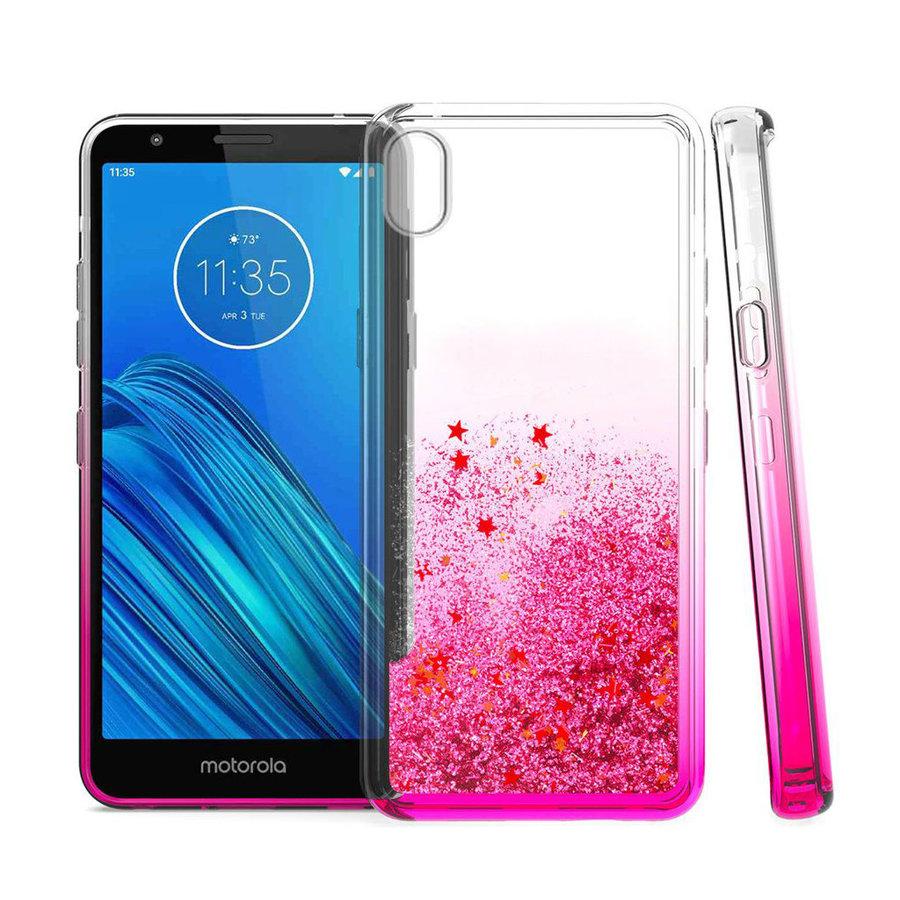 Liquid Quicksand with Glitter Hybrid Hard PC TPU Case for Motorola Moto E6 Play