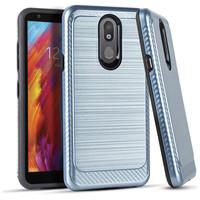 Metallic PC TPU Brushed Case with Carbon Fiber Edge for LG Aristo 4 Plus