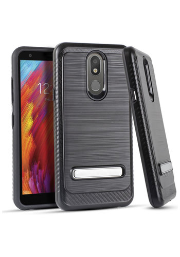 Metallic PC TPU Brushed Case Carbon Fiber Edge with Kickstand for LG Aristo 4 Plus
