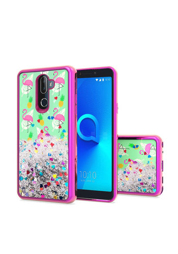 TPU Liquid Quicksand Glitter Flamingo Design Case For Alcatel 3V