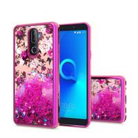 TPU Liquid Quicksand Glitter White Pink Flowers Design Case For Alcatel 3V