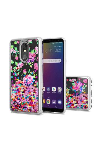TPU Liquid Quicksand Glitter Purple Pink Flowers Design Case for LG Stylo 5