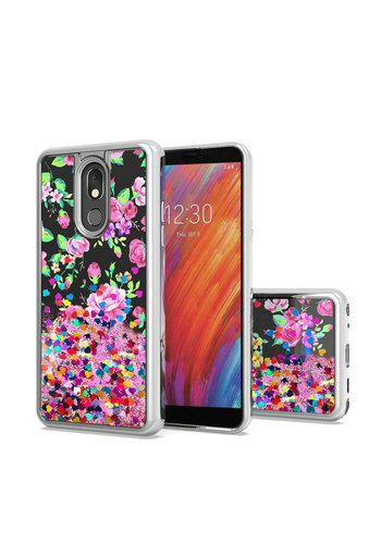 TPU Liquid Quicksand Glitter Purple Pink Flowers Design Case for Aristo 4 Plus