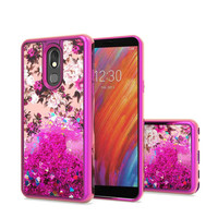 TPU Liquid Quicksand Glitter White Pink Flowers Design Case For LG Aristo 4 Plus