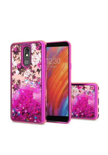 TPU Liquid Quicksand Glitter White Pink Flowers Design Case For LG Aristo 4 Plus