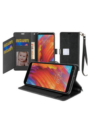 Hybrid PU Leather Metallic Flip Cover Wallet Case with Credit Card Slots for LG Aristo 4 Plus