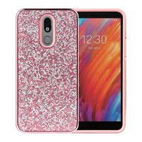 Hybrid PC TPU Deluxe Glitter Diamond Electroplated Case for LG Aristo 4 Plus