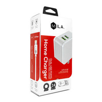 MILA   2.4A Dual-USB Home Wall Charger with Lightning Cable