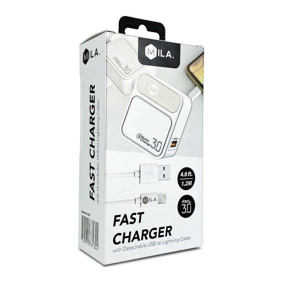 MILA   3.0A Fast Charge Single-USB Home Wall Charger with Lightning Cable