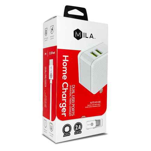 MILA | 2.4A Dual-USB Home Wall Charger with Type C Cable