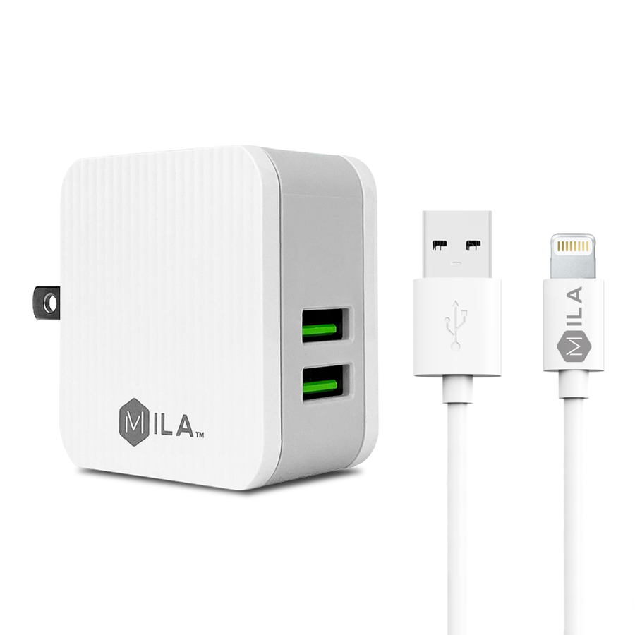 MILA | 2.4A Dual-USB Home Wall Charger with Lightning Cable