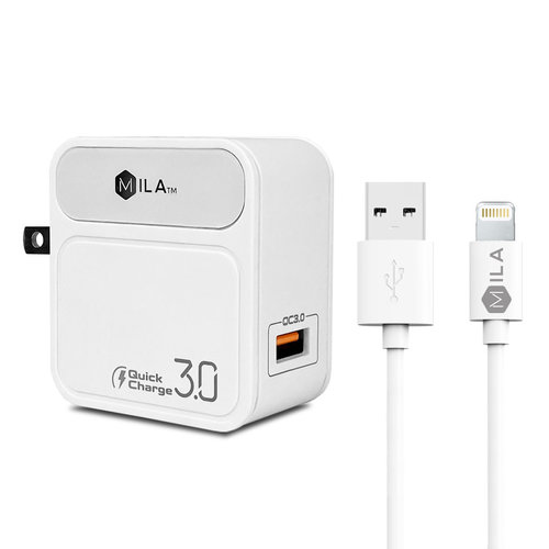 MILA | 3.0A Fast Charge Single-USB Home Wall Charger with Lightning Cable