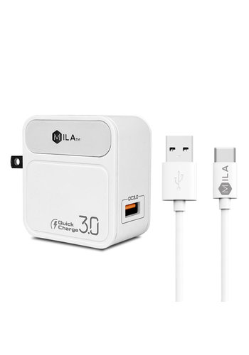 MILA | 3.0A Fast Charge Single-USB Home Wall Charger with Type C Cable