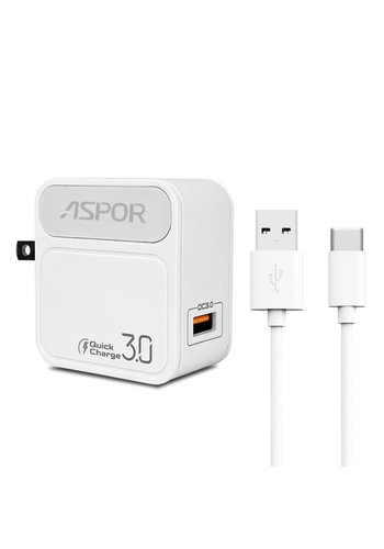 Aspor Single USB Home Charger 3.0 AMP with Type-C Cable (A828)