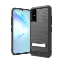 Metallic PC TPU Brushed Case Carbon Fiber Edge with Kickstand for Galaxy S20 Plus
