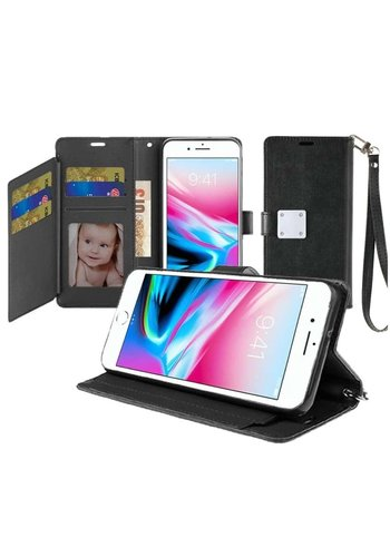 Hybrid PU Leather Metallic Flip Cover Wallet Case with Credit Card Slots for iPhone SE (2020) / 8 / 7 / 6