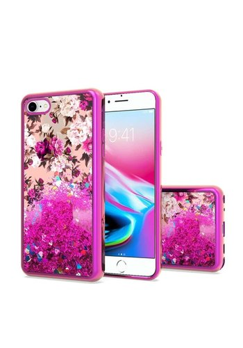 TPU Liquid Quicksand Glitter White Pink Flowers Design Case For iPhone SE (2020) /  8 / 7 / 6S / 6
