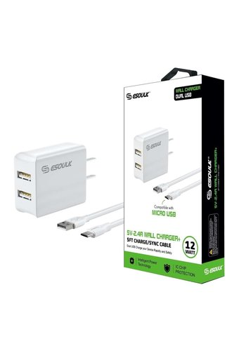 ESOULK Dual-USB Port Home Charger with Micro USB Cable V9 (2.4 AMP)