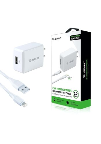 ESOULK Single-USB Port Home Charger with Lightning Cable (2.4 AMP)