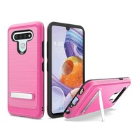 Metallic PC TPU Brushed Case Carbon Fiber Edge with Kickstand for LG Stylo 6