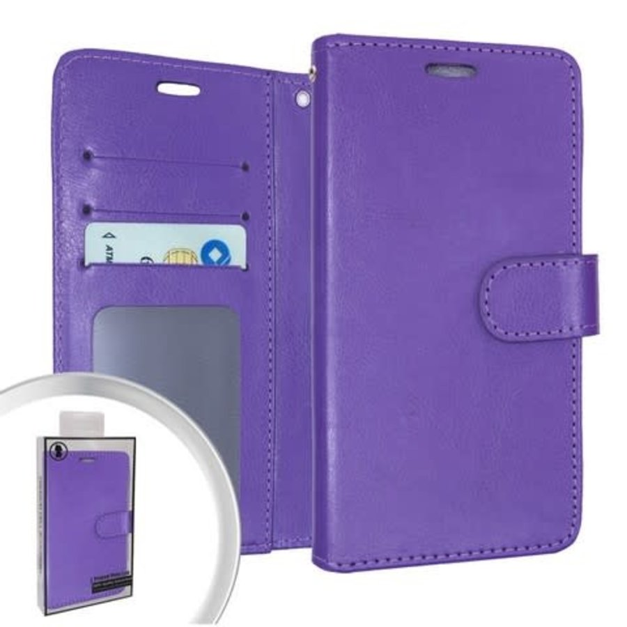 Hybrid PU Leather Flip Cover Case Wallet with Credit Card Slots for Motorola Moto G Stylus