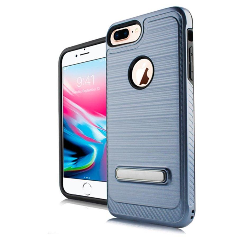 Metallic PC TPU Brushed Case Carbon Fiber Edge with Kickstand for iPhone 8 Plus / 7 Plus / 6 Plus / 6S Plus