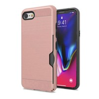 Metallic Brushed Case with Card Slot for iPhone SE (2020) / 8 / 7