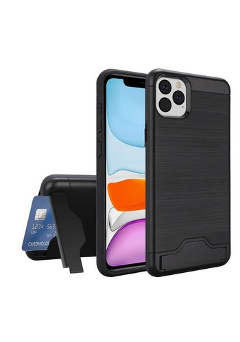 Hybrid Brushed Metal Case With Bottom Card Holder for iPhone 11