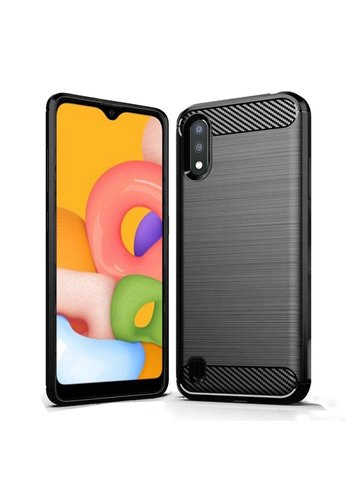Premium TPU Carbon Fiber Brushed Line Design Case for Galaxy A01