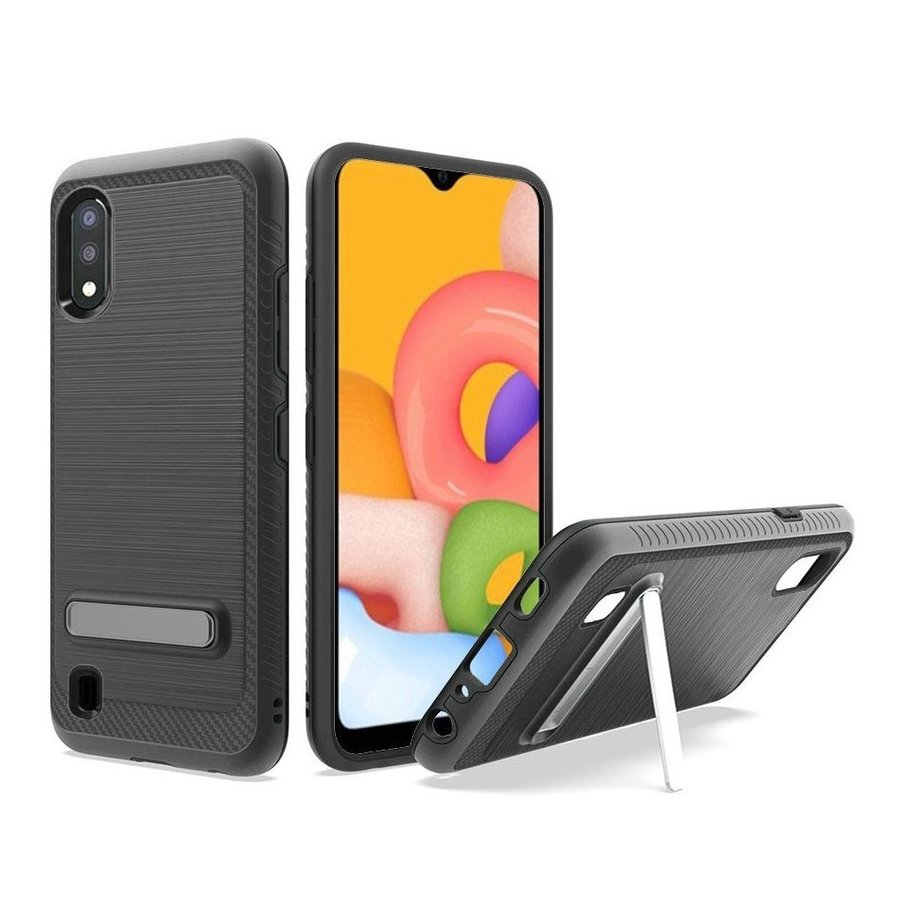 Metallic PC TPU Brushed Case Carbon Fiber Edge with Kickstand for Galaxy A01
