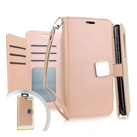 Hybrid PU Leather Metallic Flip Cover Wallet Case with Credit Card Slots for Motorola Moto G Stylus