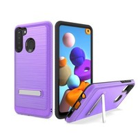 Metallic PC TPU Brushed Case Carbon Fiber Edge with Kickstand for Galaxy A21
