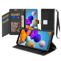 Hybrid PU Leather Metallic Flip Cover Wallet Case with Credit Card Slots for Galaxy A21