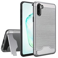 Hybrid Brushed Metal Case With Bottom Card Holder for Galaxy Note 10