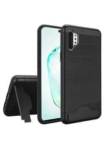 Hybrid Brushed Metal Case With Bottom Card Holder for Galaxy Note 10 Plus