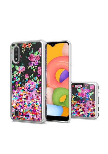 TPU Liquid Quicksand Glitter Purple Pink Flowers Design Case for Galaxy A01