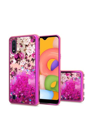 TPU Liquid Quicksand Glitter White Pink Flowers Design Case for Galaxy A01