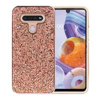 Hybrid PC TPU Deluxe Glitter Diamond Electroplated Case for LG K51