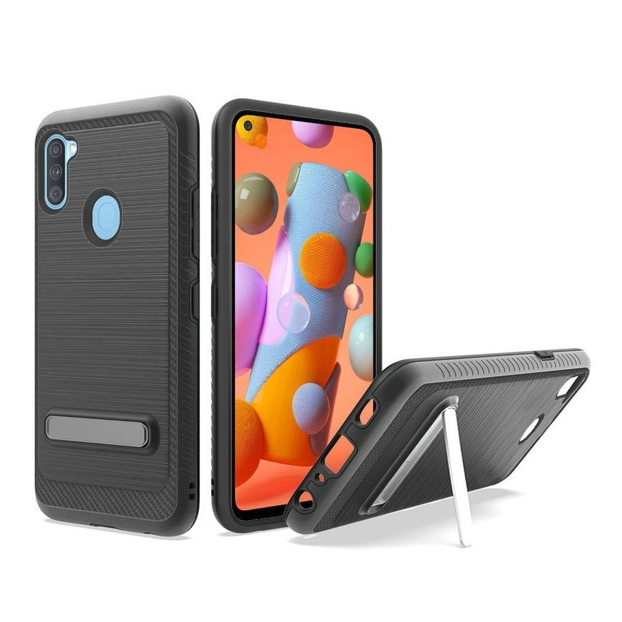 Metallic PC TPU Brushed Case Carbon Fiber Edge with Kickstand for Galaxy A11