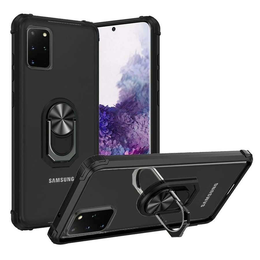 Hybrid Shockproof Clear Transparent Case with 360 Magnetic Ring Stand for Glaxay S20 Plus