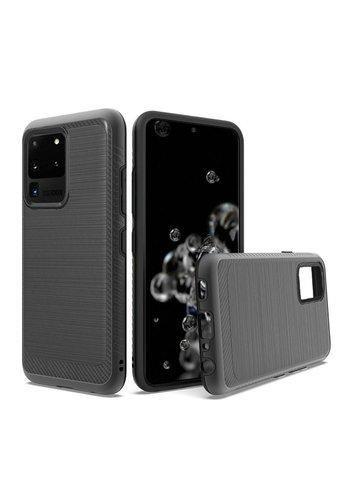 Metallic PC TPU Brushed Case Carbon Fiber Edge for Galaxy S20 Ultra