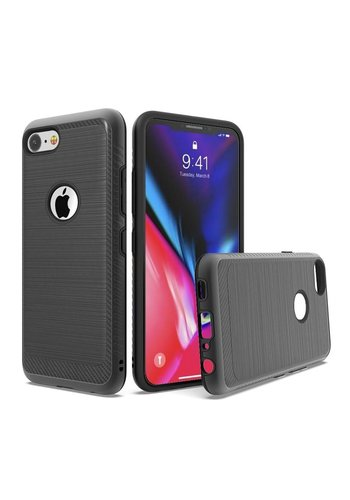 Metallic PC TPU Brushed Case with Carbon Fiber Edge for iPhone SE (2020) / 8 / 7