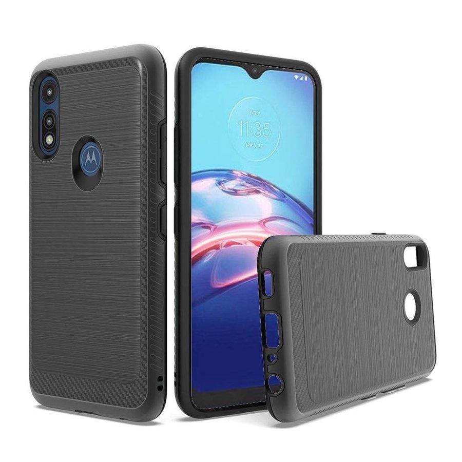 Metallic PC TPU Brushed Case Carbon Fiber Edge for Motorola Moto E (2020)